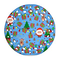 Santa And Rudolph Pattern Round Filigree Ornament (two Sides)