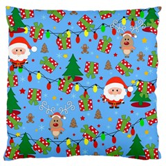 Santa And Rudolph Pattern Large Cushion Case (two Sides)