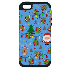 Santa And Rudolph Pattern Apple Iphone 5 Hardshell Case (pc+silicone)