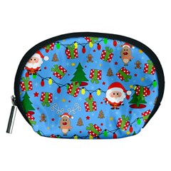 Santa And Rudolph Pattern Accessory Pouches (medium)  by Valentinaart