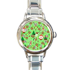 Santa And Rudolph Pattern Round Italian Charm Watch by Valentinaart