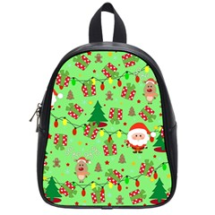 Santa And Rudolph Pattern School Bag (small) by Valentinaart