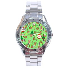 Santa And Rudolph Pattern Stainless Steel Analogue Watch by Valentinaart