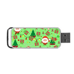 Santa And Rudolph Pattern Portable Usb Flash (two Sides)