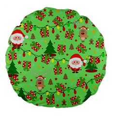 Santa And Rudolph Pattern Large 18  Premium Flano Round Cushions by Valentinaart