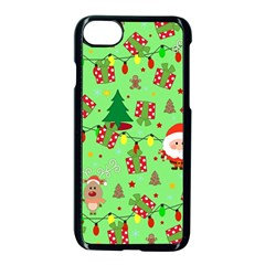Santa And Rudolph Pattern Apple Iphone 7 Seamless Case (black)