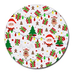 Santa And Rudolph Pattern Round Mousepads by Valentinaart