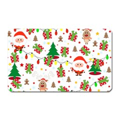 Santa And Rudolph Pattern Magnet (rectangular) by Valentinaart