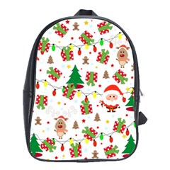 Santa And Rudolph Pattern School Bag (large) by Valentinaart