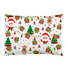 Santa And Rudolph Pattern Pillow Case (two Sides) by Valentinaart