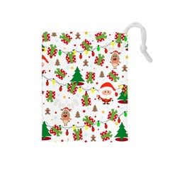 Santa And Rudolph Pattern Drawstring Pouches (medium)  by Valentinaart