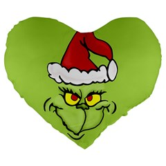 Grinch Large 19  Premium Flano Heart Shape Cushions by Valentinaart