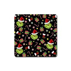Grinch Pattern Square Magnet by Valentinaart