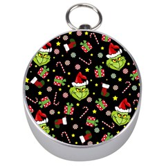 Grinch Pattern Silver Compasses by Valentinaart