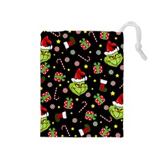 Grinch Pattern Drawstring Pouches (medium)  by Valentinaart