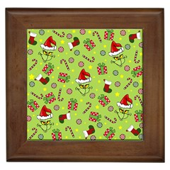 Grinch Pattern Framed Tiles by Valentinaart