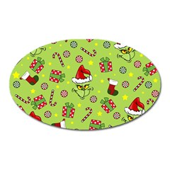 Grinch Pattern Oval Magnet by Valentinaart