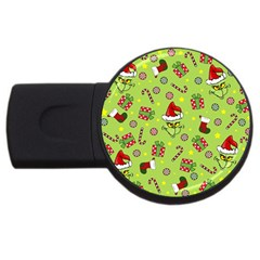 Grinch Pattern Usb Flash Drive Round (4 Gb) by Valentinaart