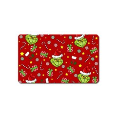 Grinch Pattern Magnet (name Card) by Valentinaart
