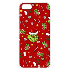 Grinch Pattern Apple Iphone 5 Seamless Case (white) by Valentinaart