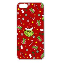 Grinch Pattern Apple Seamless Iphone 5 Case (clear) by Valentinaart