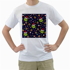 Grinch Pattern Men s T-shirt (white) (two Sided)