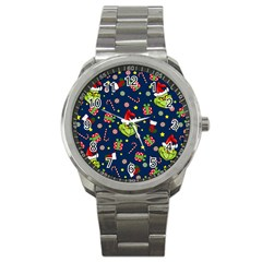 Grinch Pattern Sport Metal Watch by Valentinaart