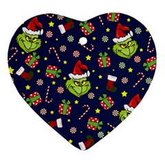 Grinch Pattern Heart Ornament (two Sides) by Valentinaart
