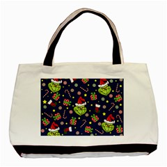 Grinch Pattern Basic Tote Bag (two Sides) by Valentinaart