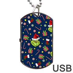 Grinch Pattern Dog Tag Usb Flash (two Sides) by Valentinaart