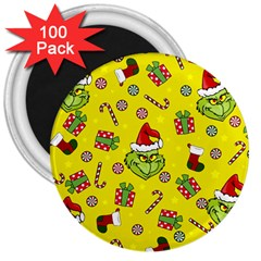 Grinch Pattern 3  Magnets (100 Pack) by Valentinaart