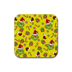 Grinch Pattern Rubber Square Coaster (4 Pack)