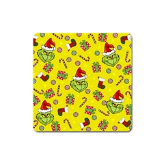 Grinch Pattern Square Magnet