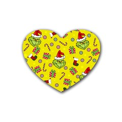 Grinch Pattern Rubber Coaster (heart)