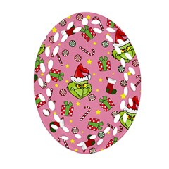 Grinch Pattern Ornament (oval Filigree) by Valentinaart