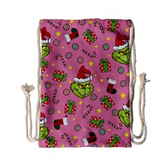 Grinch Pattern Drawstring Bag (small) by Valentinaart
