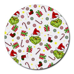 Grinch Pattern Round Mousepads by Valentinaart