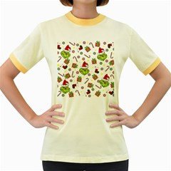 Grinch Pattern Women s Fitted Ringer T Shirts