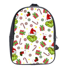 Grinch Pattern School Bag (large) by Valentinaart