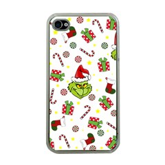 Grinch Pattern Apple Iphone 4 Case (clear) by Valentinaart