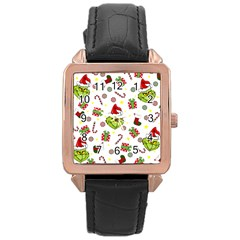 Grinch Pattern Rose Gold Leather Watch  by Valentinaart