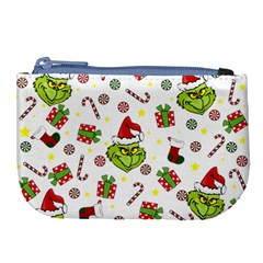 Grinch Pattern Large Coin Purse by Valentinaart