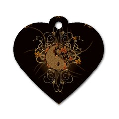 The Sign Ying And Yang With Floral Elements Dog Tag Heart (one Side) by FantasyWorld7