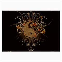 The Sign Ying And Yang With Floral Elements Large Glasses Cloth by FantasyWorld7