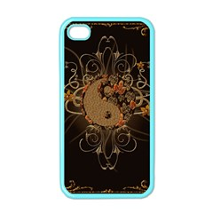 The Sign Ying And Yang With Floral Elements Apple Iphone 4 Case (color) by FantasyWorld7