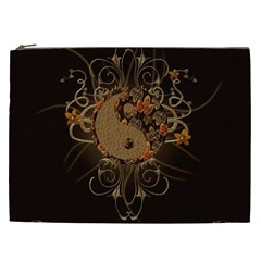 The Sign Ying And Yang With Floral Elements Cosmetic Bag (xxl)  by FantasyWorld7