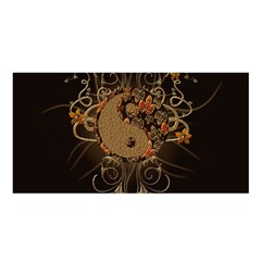 The Sign Ying And Yang With Floral Elements Satin Shawl by FantasyWorld7