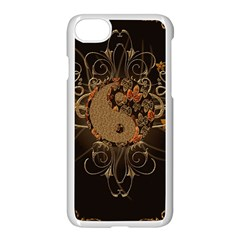 The Sign Ying And Yang With Floral Elements Apple Iphone 8 Seamless Case (white) by FantasyWorld7