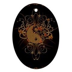 The Sign Ying And Yang With Floral Elements Ornament (oval) by FantasyWorld7