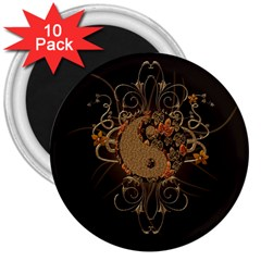 The Sign Ying And Yang With Floral Elements 3  Magnets (10 Pack)  by FantasyWorld7